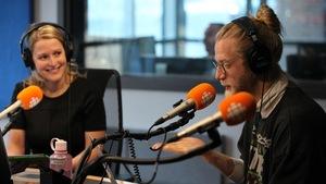 Marie-Hélène Raymond et Maxime Robin en studio.
