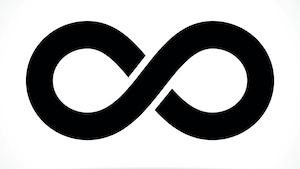 Le symbole de l'infini, dessiné en noir sur un fond blanc.