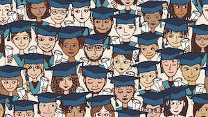 Illustrations de jeunes finissants du secondaire avec leurs chapeaux.