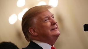 Donald Trump sourit.