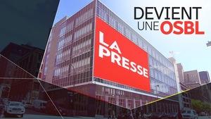 Montage d'une image montrant l'édifice du journal québécois La Presse.