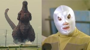 Images des personnages Godzilla et El Santo.
