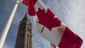 La Tour de la paix à Ottawa se découpe sur le ciel.