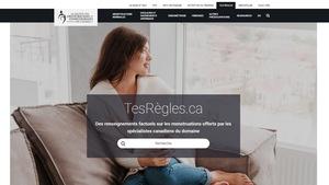 La page d'acceuil du site web TesRègles.ca