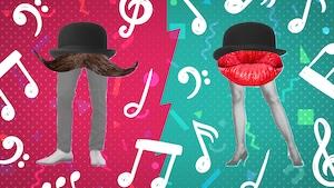 Une moustache avec des jambes et une paire de lèvres rouges dotée de jambes sont illustrées sur un arrière-plan coloré, serti de notes de musiques.