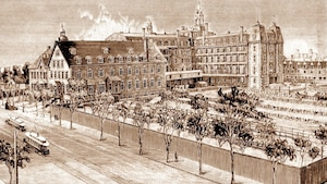 L'Institution des Sourdes-Muettes, rue Saint-Denis, vers 1893. L'actuel pavillon de la rue Saint-Denis a été construit entre 1898 et 1902.
