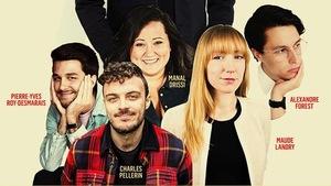 Photos de Manal Drissi, Alexandre Forest, Maude Landry, Charles Pellerin et Pierre-Yves Roy-Desmarais sur une affiche.