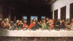 La cène ( La cena, ou « Le dernier souper », en italien) de Jésus et ses apôtres, une oeuvre de Leonard de Vinci
