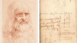 Montage d'un dessin du visage de Léonard de Vinci et de l'un de ses dessins.