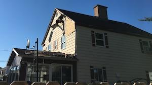 Une maison endommagée par la foudre