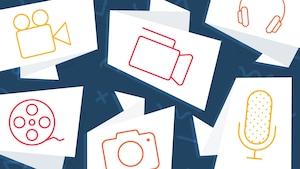 Pictogrammes illustrant une caméra, une bobine de film, des écouteurs, un appareil photo et un micro.