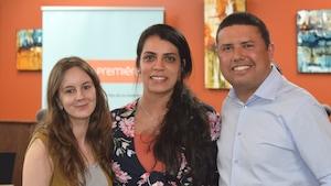 L'agente de migration à Place aux jeunes Mélanie Roy, Sihem Ben Hamed qui travaille chez Nergica et Nata De Melo Cruz, qui travaille chez LM Windpower.
