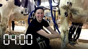 Mélissa Lagacé en train de traire une vache.