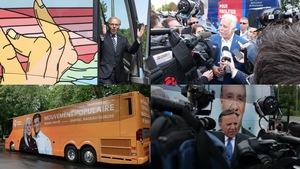 On voit les chefs de trois partis devant leur autobus de campagne et l'autobus de Québec solidaire.