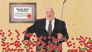 Un banquier se tient devant un diplôme. L'image est envahie de pastilles rouges et vertes qui représentent ses clients.