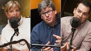 Hélène Daneault, Éric Montigny et Alec Castonguay au micro de Catherine Perrin