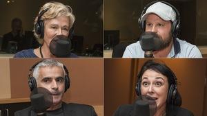 Dominique Demers, Hugo Meunier, Patrice Coquereau et Claudia Larochelle au micro de Catherine Perrin