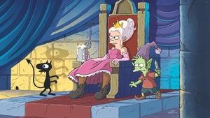 Une princesse boit une bière, assise sur son trône, dans cette image tirée de <i>Désenchantée</i>, la nouvelle série de Matt Groening.