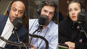 Philippe Fehmiu, Philippe Letarte et Marie-Claude Lortie au micro de Catherine Perrin