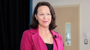 Gertrude Bourdon, l'ancienne directrice générale du CHU de Québec devenue candidate libérale.