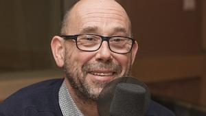 Olivier Gourmet au micro de Catherine Perrin.