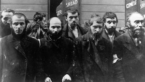 Des Juifs arrêtés durant la destruction du ghetto de Varsovie par les Allemands en 1943.