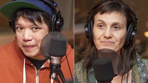 Kid Koala et Karina Bleau au micro de Catherine Perrin.