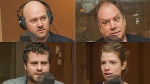 Guillaume Lavallée, Stéphane Giroux, Vincent Larouche et Geneviève Garon au micro de Catherine Perrin