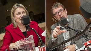 Martine Hébert et Jacques Létourneau au micro de Catherine Perrin