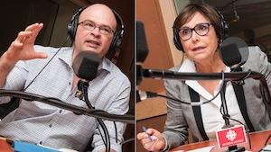 Christian Nadeau et Alexandra Szacka au micro de Stéphan Bureau