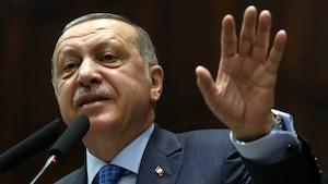 Recep Tayyip Erdogan parle devant des micros.