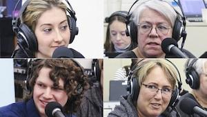 Marie-Estrella Richard, Sylvie Fontaine, Emmanuel Nadeau et Mireille Morin au micro de Catherine Perrin, à Hearst.