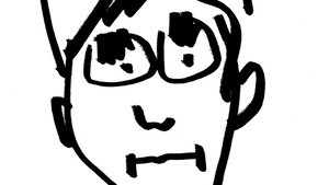 Dessin d'un visage d'homme caricaturé.