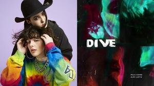 À gauche : portrait de Laurence Lafond-Beaulne et Camille Poliquin sur fond lilas. À droite : pochette du EP « Dive ».