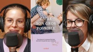 Collage de deux photos de Carolane et Josiane Stratis devant un micro de radio et la couverture de leur livre sur laquelle on voit Josiane avec son garçon.