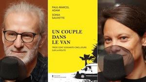 Montage de deux photos de Paul-Marcel Adam et de Sonia Sauvette et de la couverture de leur livre sur laquelle est dessinée une fourgonnette.