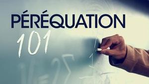 Le texte « péréquation 101 », inscrit sur un tableau de salle de classe.