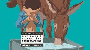 Le dessin d'un enfant trempe son sexe dans une bassine près d'un âne.