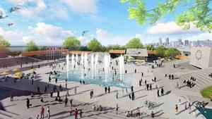 Image montrant une place publique entourée de gradins au centre de laquelle se trouve un bassin d'eau avec des fontaines.