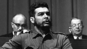 Une photo d'Ernesto Che Guevara prise le 29 mars 1964 au moment d'une allocution prononcée à Genève, en Suisse.