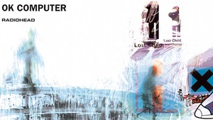 La couverture de l'album <i>OK Computer</i> du groupe britannique Radiohead, sorti au printemps 1997.