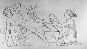 Dans la mythologie grecque, Pandore, ici à droite dans un dessin datant de 1794 de l'artiste John Flaxman, est la première femme humaine à avoir été créée.
