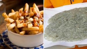 Un collage photo opposant la poutine québécoise et la poutine cagnoise, un plat de poisson.