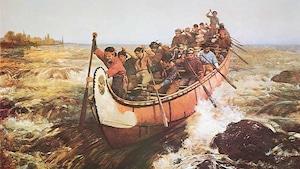Peinture intitulée « Shooting the Rapids » de l'artiste anglaise Frances Anne Hopkins, 1871