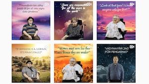 Une mosaïque de vidéos montrant des personnes handicapées, debout ou en fauteuil, prononçant des citations absurdes de personnalités politiques.