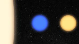 Comparaison entre le Soleil (à gauche), la naine blanche bleutée WD J2356-209 (au centre) et une étoile naine blanche (à droite).