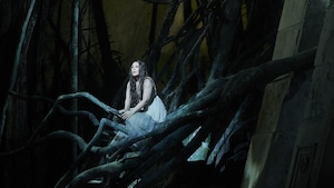 Le personnage de Rusalka juchée sur une pile de branches.