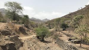 Un paysage aride de l'île de Santiago au Cap-Vert.