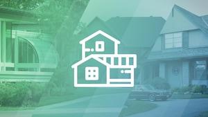 Un pictogramme de maison luxueuse sur un arrière-plan de photos.