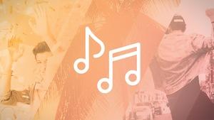 Un pictogramme de notes de musique sur un arrière-plan de photos.